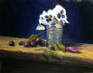 Pansy and Tin oil on canvas panel